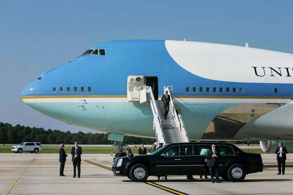 President Barack Obama exits Air Force One after arriving in Morrisville, N.C., last month. President-elect Donald Trump, who has for years flown in a jet bearing his name, appeared to want to cancel a pending order with Boeing for new presidential planes, saying Tuesday on Twitter that the upgrade would cost too much.