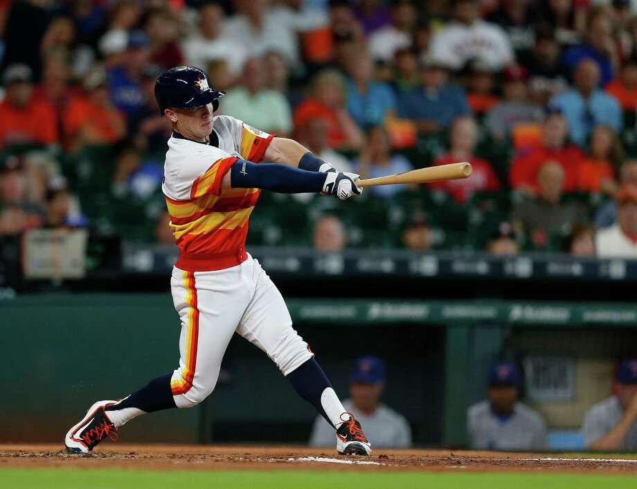 Houston Astros Alex Bregman (2) hits a double during the first inning of an MLB game at Minute Maid Park, Saturday, Aug. 6, 2016, in Houston. ( Karen Warren  / Houston Chronicle ) Photo: Karen Warren, Staff / © 2016 Houston Chronicle