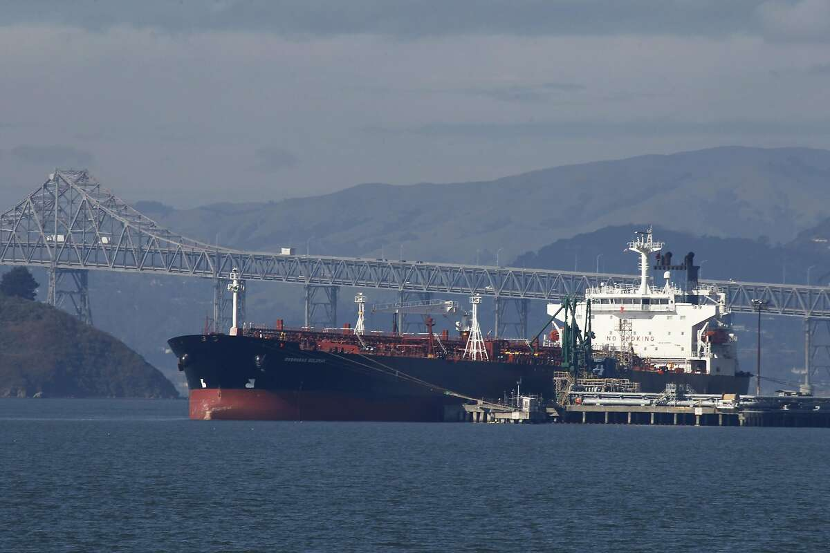 An oil tanker is docked at the Chevron refinery long wharf in Richmond, Calif. on Friday, Jan. 25, 2013.