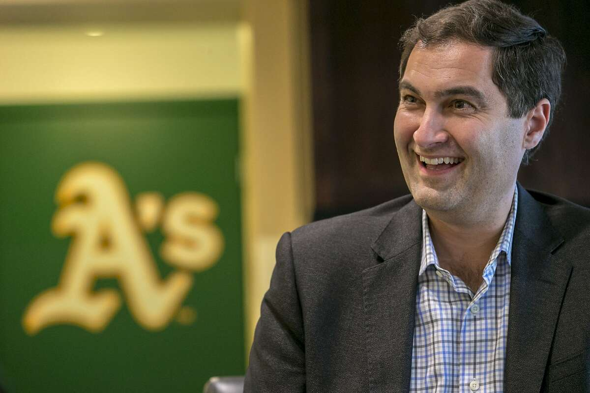 Dave Kaval, president of the Oakland Athletics, chats with fans at the O.co Coliseum on Tuesday, Dec. 6, 2016 in Oakland, Calif. Kaval held a 2-hour open house with fans and invited them to a one-on-one chat at his office.