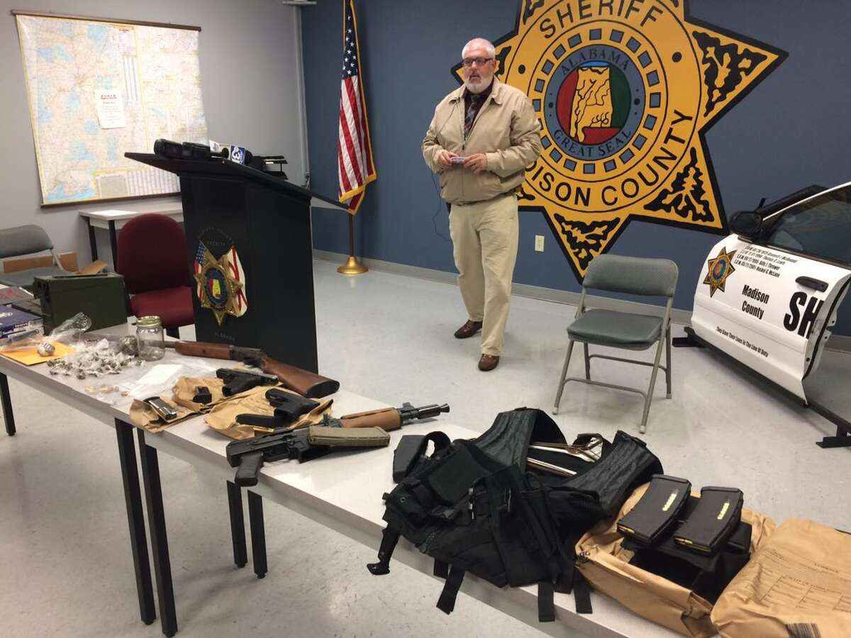 Madison County Sheriff Capt. Mike Salomonsky at media event for search warrant at viral video mannequin challenge residence-guns & drugs seized.
