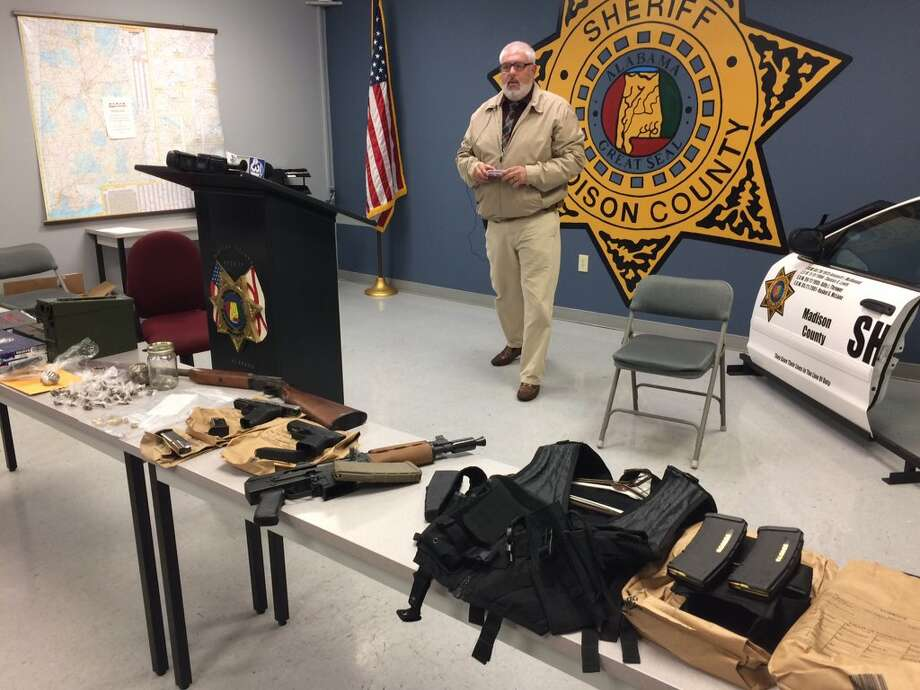Madison County Sheriff Capt. Mike Salomonsky at media event for search warrant at viral video mannequin challenge residence-guns & drugs seized. Photo: Madison County Sheriff Twitter