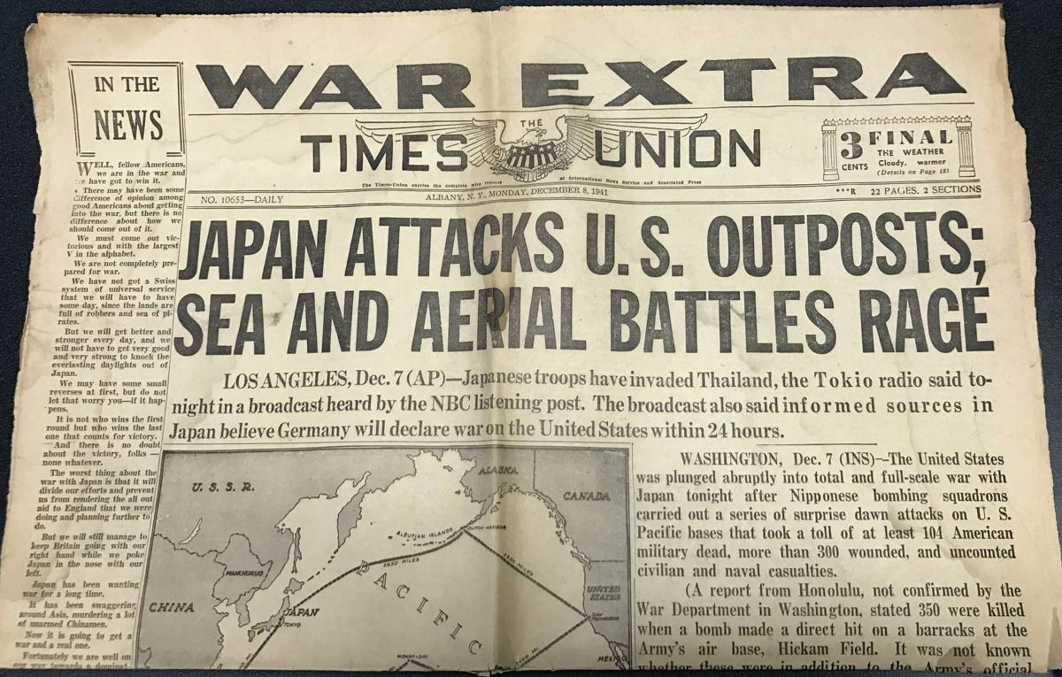 The front page of the Times Union on Dec. 8, 1941, the day after Japan attacked Pearl Harbor. (Paul Block / Times Union)