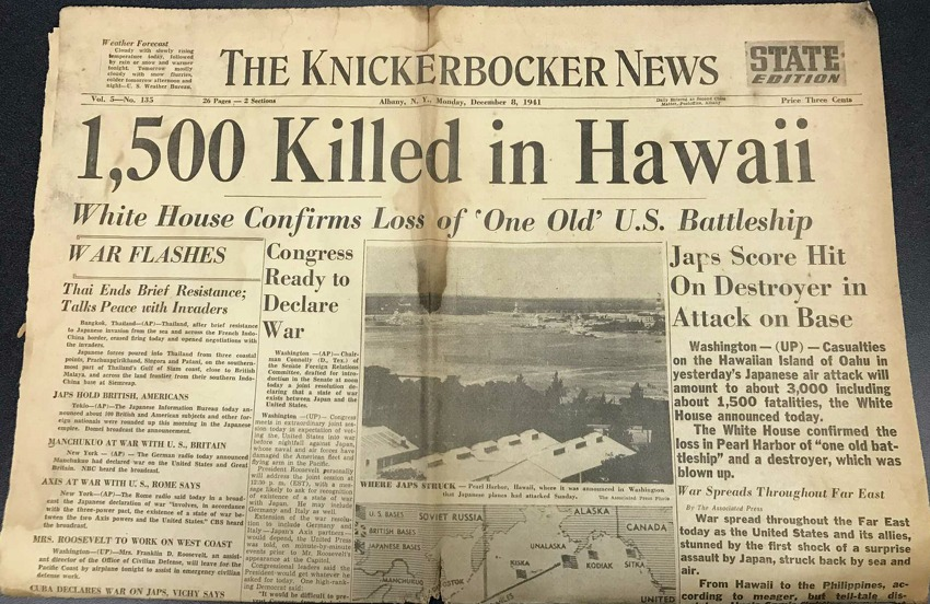The front page of the Knickerbocker News on Dec. 8, 1941, the day after Japan attacked Pearl Harbor. (Paul Block / Times Union)