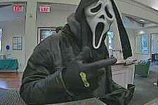 """Norwalk police are looking for this man who held up the First County Bank on Main Avenue on Tuesday, Dec. 6, 2016. Lt. Terry Blake says the man, believed to be a white Caucasian, wore a 'ghost Halloween"""" mask."""