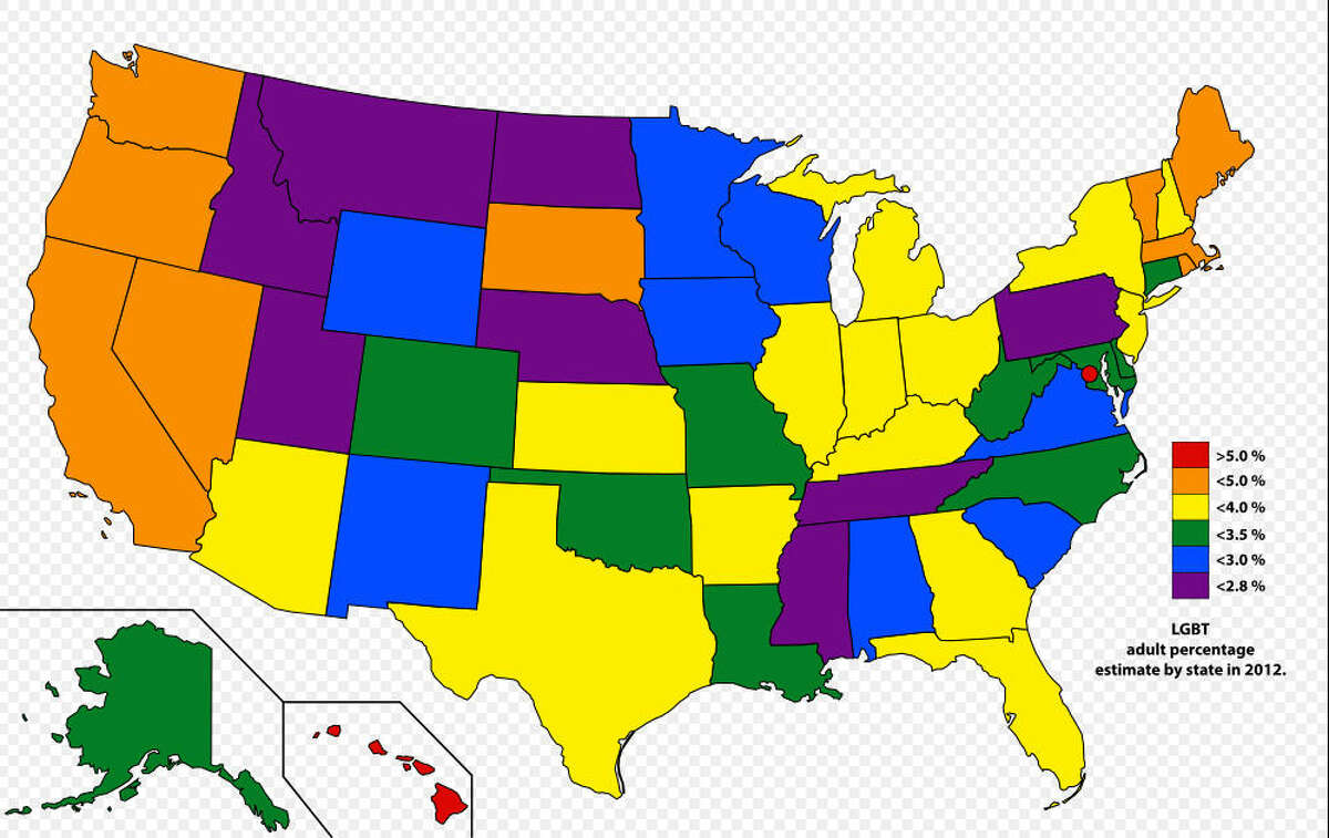 Being gay is illegal? A graphic of the state showing the percentage of LGBT people in each state. Gallup estimated in 2012 that about a half-million Texans identified as gay or homosexual. A Texas lawmaker hopes to eliminate that language from the state's criminal code starting in January.