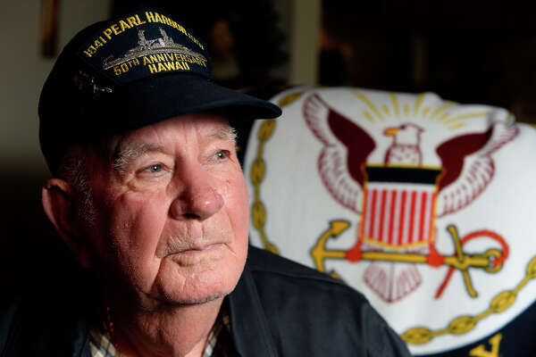 Cedric Stout was aboard the USS Utah battleship when Pearl Harbor was attacked. Stout managed to escape, but 64 other members of the crew were killed when the ship sank.  Photo taken Monday 12/5/16 Ryan Pelham/The Enterprise