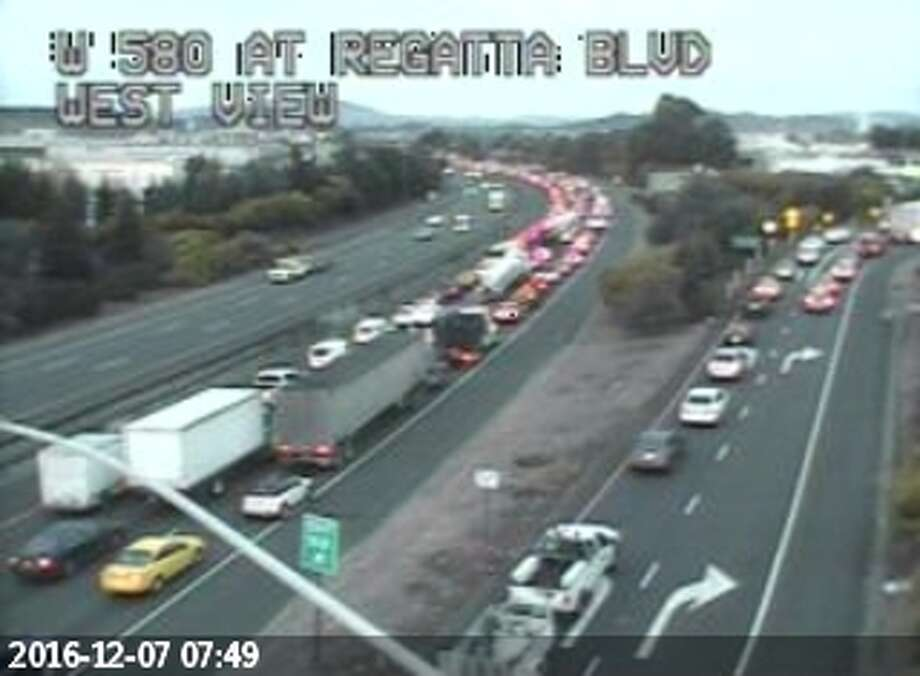 Traffic was backed up several miles along Highway 580 this morning. Photo: Caltrains