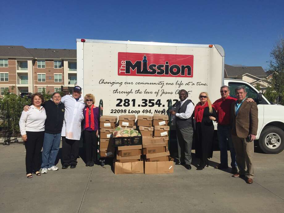 From left, Kingwood Rotarians Carolyn Wise and Charlie Buscemi ; Ricky Baker, Kroger Meat Manager; Pam Dixon Singletary, Executive Director of Mission NE; Mr. Martin, Kroger #359 Mgr. Store; Rotarians Day Murray, Jim Alfaro and Salvador Matute. Photo: Submitted