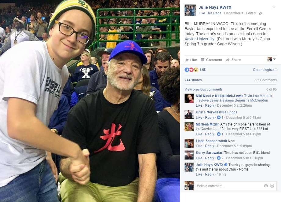 """Julie Hays KWTX: """"BILL MURRAY IN WACO: This isn't something Baylor fans expected to see at the Ferrell Center today. The actor's son is an assistant coach for Xavier University. (Pictured with Murray is China Spring 7th grader Gage Wilson.)"""" Photo: Courtesy/Facebook"""
