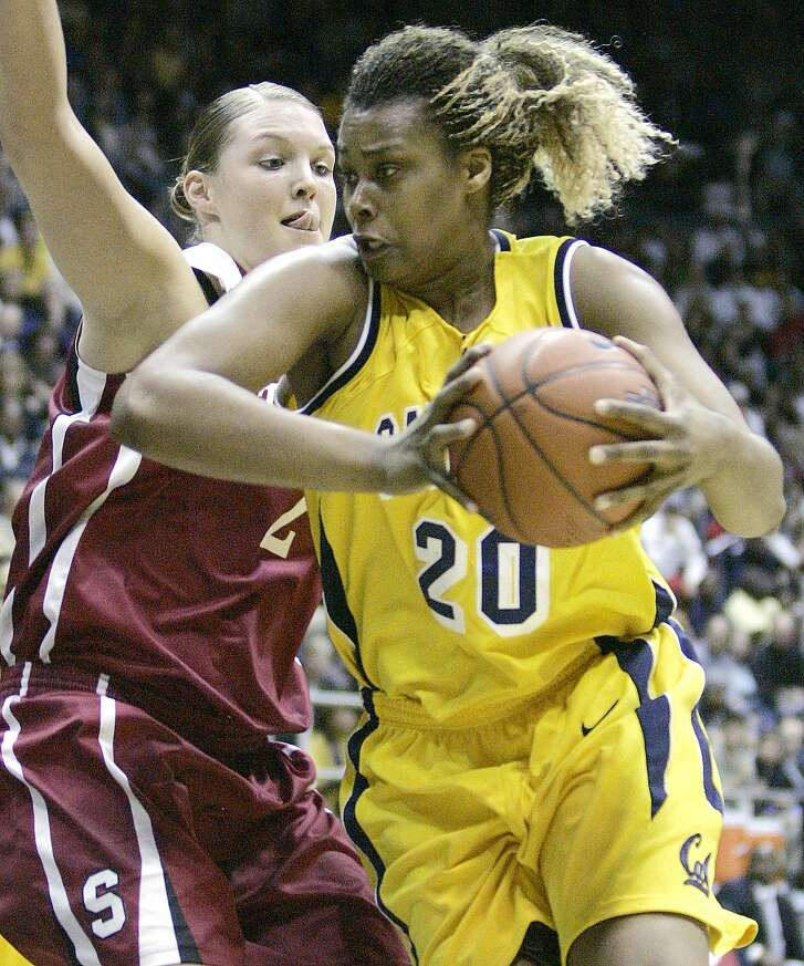 California's Devanei Hampton (20) looks for a way around Stanford's Jayne Appel (2) during the first half of a basketball game Saturday, Feb. 23, 2008, in Berkeley, Calif. (AP Photo/Ben Margot)