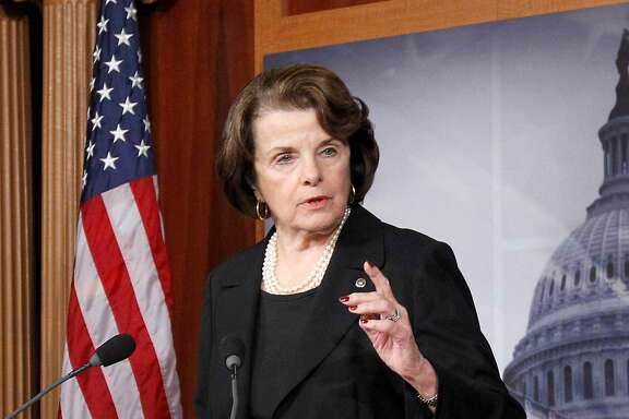 "FILE - This Dec. 21, 2012 file photo shows Senate intelligence committee chair, Sen. Diane Feinstein, D-Cal., left, speaking at a Capitol Hill news conference in Washington. Feinstein and the chair of the House intelligence committee prodded President Barack Obama on Sunday, Aug. 31, 2014, to take decisive action against the growing threats from Islamic State militants on U.S. soil. ""I think I've learned one thing about this president, and that is he's very cautious,"" she said. ""Maybe in this instance, too cautious."" Obama said Friday that he did not yet have a strategy for dealing with the Islamic State organization, a remark that brought criticism from Democrats and Republicans. (AP Photo/Ann Heisenfelt, File)"