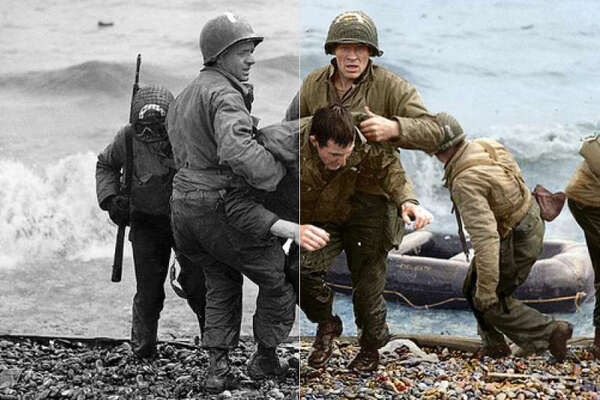 Medics from the US 5th and 6th Engineer Special Brigade help wounded soldiers on Omaha beach.