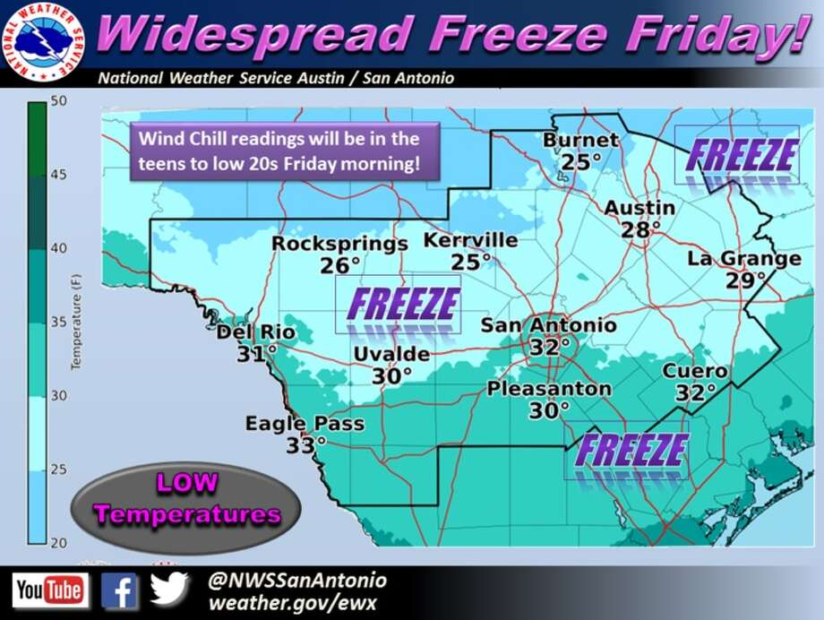 The immediate future for the Alamo City is looking cold— Meteorologist Jason Runyen told mySA.com Dec. 7, 2016 that Thursday and Friday will see low temperatures in the 40s and 30s before the weekend. Photo: Courtesy/National Weather Service