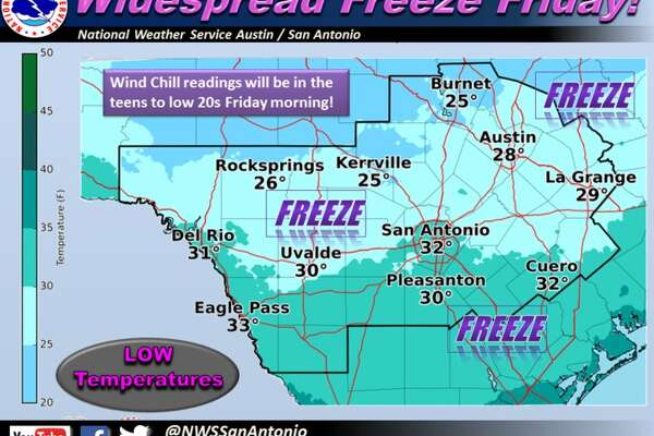 The immediate future for the Alamo City is looking cold— Meteorologist Jason Runyen told mySA.com Dec. 7, 2016 that Thursday and Friday will see low temperatures in the 40s and 30s before the weekend.