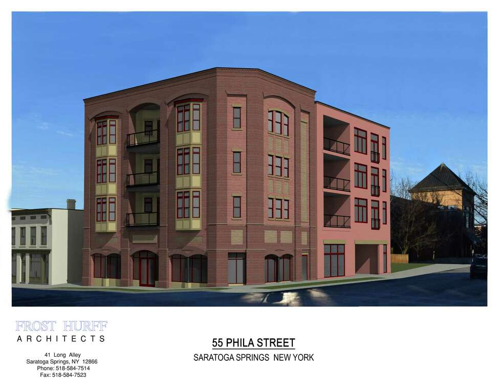 Bonacio Construction will take over Caffe Lena's parking lot at Phila and Henry Streets in Saratoga Springs and construct a mixed-use building, which will feature an elevator and stairwell shared with the Caffe, at 47 Phila St. (Frost Hurff Architects)
