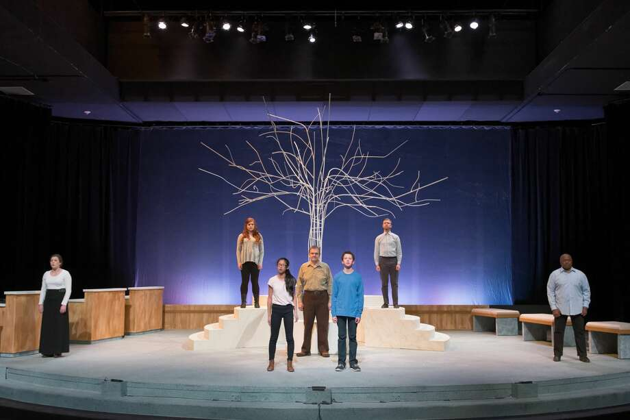 """Kendall Day, Allie Jackson, Joelle Meilink, Paul Lutenske, Kristopher Mercy, Aaron Baker and Kevin Kendrick in the rehearsal of """"HOMETOWN""""--ANONYMOUS at the Midland Center for the Arts Tuesday evening. Photo: Steven Simpkins/Midland Daily Ne"""