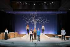 """Kendall Day, Allie Jackson, Joelle Meilink, Paul Lutenske, Kristopher Mercy, Aaron Baker and Kevin Kendrick in the rehearsal of """"HOMETOWN""""--ANONYMOUS at the Midland Center for the Arts Tuesday evening."""