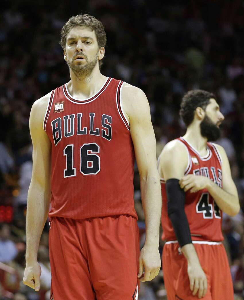 Chicago Bulls center Pau Gasolwalks on the court for the second half against the Heat on April 7, 2016, in Miami.