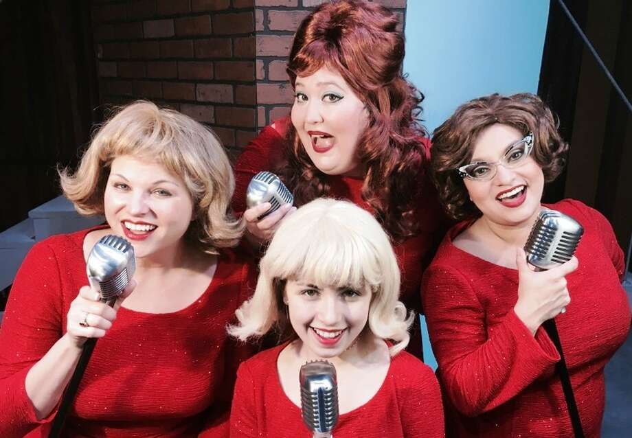 The Paisley Sisters are a fictitious sister act from the Fifties and Sixties, akin to the Lennon Sisters or the McGuire Sisters. The farcical plot is set during the Paisley Sisters' live 1964 Christmas television special. The cast includes Beth Erwin (Connie), Cali Hall (Abigail), Gianna Rodriguez (Bonnie) and Krystal Newcomer (Lonnie). Photo: RJ, Courtesy Jonathan Pennington