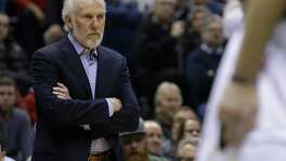 Spurs coach Gregg Popovich watches from the sidelines during the second half against the Bucks on Dec. 5, 2016, in Milwaukee. The Spurs won, 97-96, to start the season 13-0 on the road.