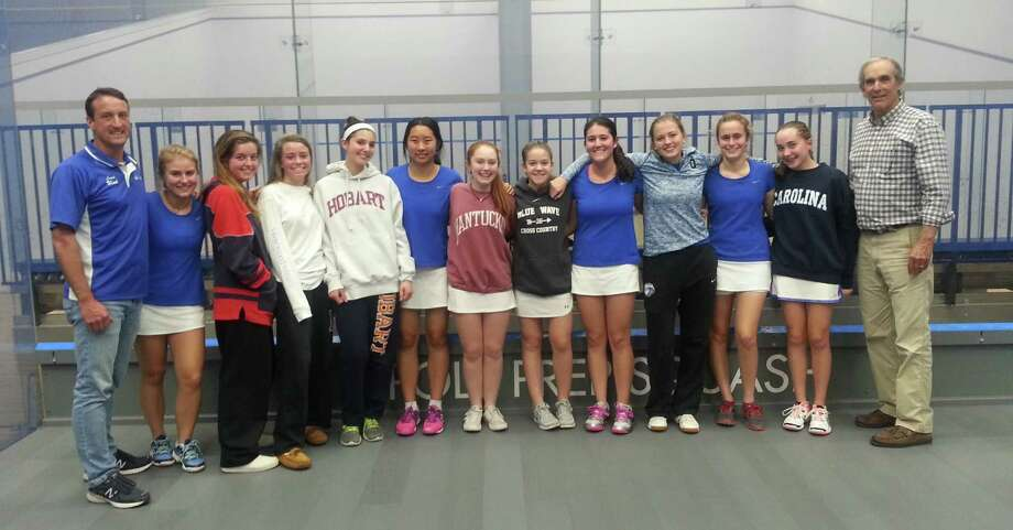 The Darien girls squash team poses after competiting in the Poly Prep Invitational Tournament in Brooklyn. From left to right: Coach Patrick Wind, Alix Platt, Sarah Bowditch (capt.), Lilly Johnsen, Grace Feingold, Julia Tong, Elle Mitrano, Schuyler Coughlin, Mia Dursht (capt.), Taylor Richards, Sophia Cortellesi, Quincy Balanoff, coach Hugh Underhill. Missing: Alexa Cornacchia. Photo: Contributed Photo / Darien News contributed