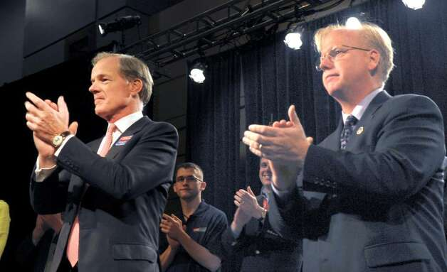 Tom Foley, left and Danbury Mayor Mark Boughton, addresse the Republican State Convention Saturday night after accepting the party's nomination for Governor and Lt. Gov. The Republicans ended a two day convention at the Hartford Convention Center Saturday night at the Hartford Civic Center. Photo: Carol Kaliff / The News-Times