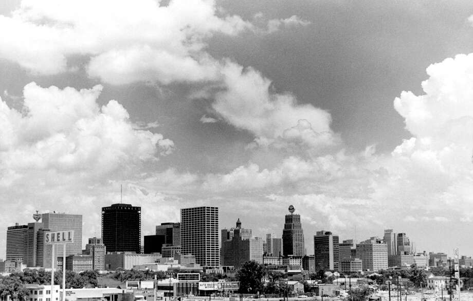 Houston skyline, July 1969. How many oil companies can you spot? Click through to see some of them. Photo: Unknown, Houston Chronicle