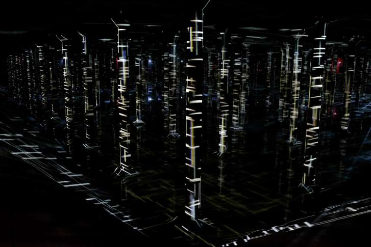 "A view of ""Rain: Magdalena Fern‡ndez at the Houston Cistern"" a video and sound art installation by Venezuelan artist Magdalena Fern‡ndez is shown at the Buffalo Bayou Cistern,105 Sabine,  Wednesday, Dec. 7, 2016, in Houston. ""Rain"" will be open to the public Wednesdays-Fridays, 3:30-7 p.m. and Saturdays-Sundays, 10 a.m.-7 p.m., Dec. 10-June 4. Admission will be $8-$10, free on Thursdays. Timed admission tickets are on sale now at buffalobayou.org. ( Melissa Phillip / Houston Chronicle )"