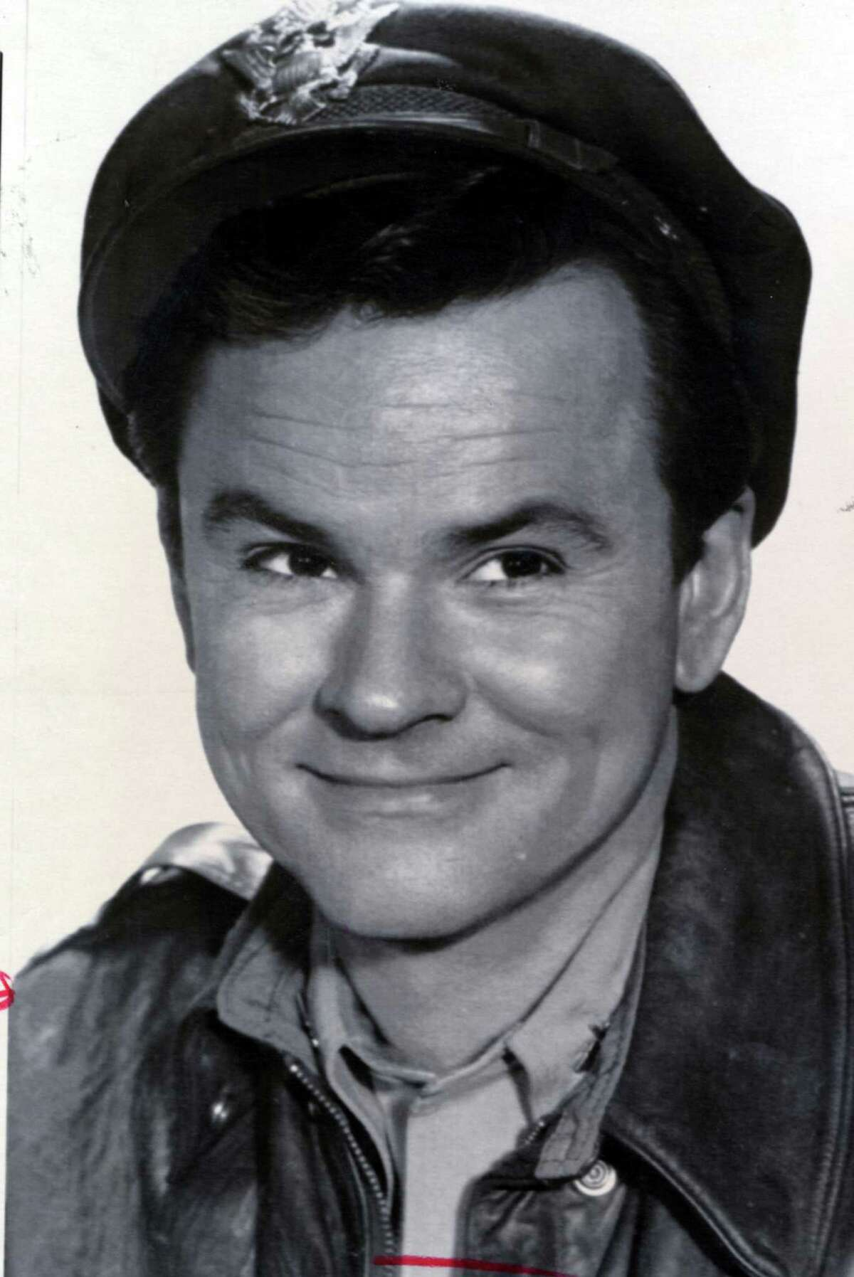 """Bob Crane on """"Hogan's Hero."""" Crane, who grew up in Stamford and worked for WICC in Bridgeport early in his radio career, cited Bridgeport as his hometown on the TV show."""