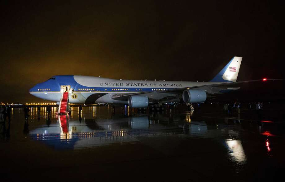 Air Force One at Joint Base Andrews in Maryland after President Barack Obama made a trip to MacDill Air Force Base in Tampa, Fla. on Tuesday. President-elect Donald Trump, who has for years flown in a jet bearing his name, appeared to cancel a pending order for a new Air Force One, saying Tuesday on Twitter that the upgrade would cost too much. Photo: DOUG MILLS /NYT / NYTNS