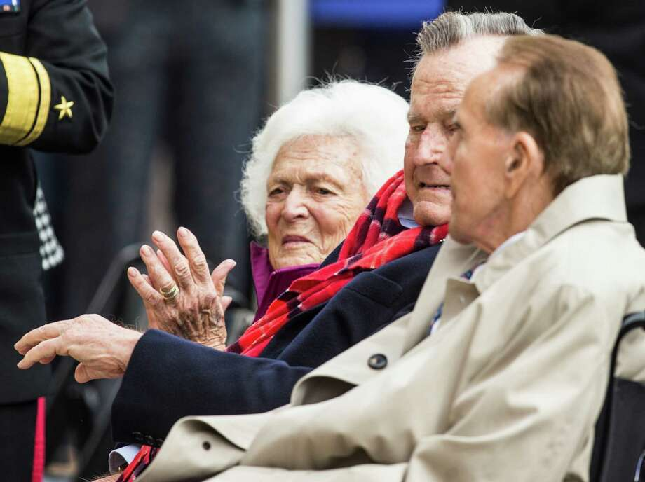 Former First Lady Barbara Bush, former President George H.W. Bush and Sen. Bob Dole, R-Kansas, sit together during the 75th anniversary ceremony of the attack on Pearl Harbor at the George Bush Presidential Library on Wednesday, Dec. 7, 2016, in College Station. Photo: Brett Coomer, Houston Chronicle / © 2016 Houston Chronicle