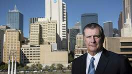 Mike Rawlings, the mayor of Dallas, stands in front of the city landscape, Nov. 18, 2016. The citys pension fund for police and firefighters is near collapse and is seeking an immense bailout, a request that threatens to push the city into bankruptcy.