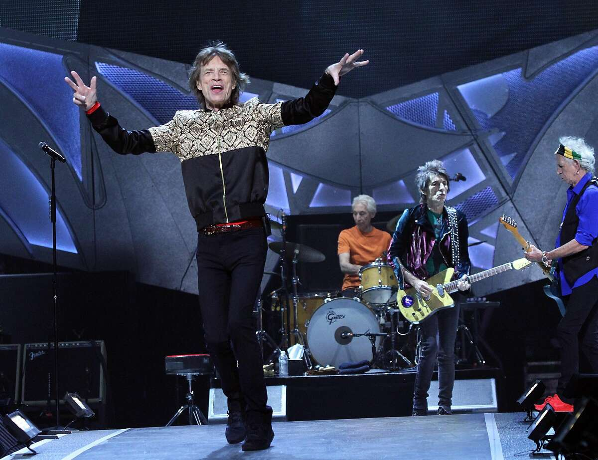 Guitarists Ronnie Wood, Keith Richards, vocalist Mick Jagger and drummer Charlie Watts of the English rock band The Rolling Stones perform in concert at T-Mobile Arena on Oct. 22, 2016 in Las Vegas, Nev. (Marcel Thomas/Zuma Press/TNS)