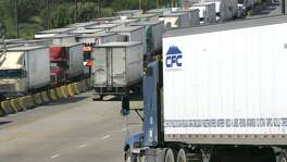 Truck traffic at the World Trade Bridge in Laredo in 2008. It wasn't until 2015, that Mexican trucks were allowed to haul past a 25-mile limit above the border, in violation of NAFTA.