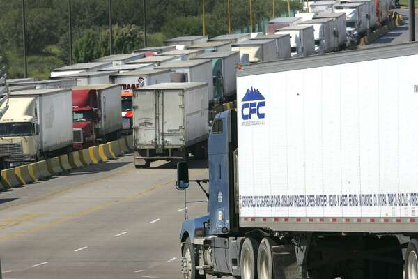 Truck traffic at the World Trade Bridge in Laredo in 2008, with truck in line waiting to cross. Texas exports to Mexico have grown 236 percent in the NAFTA years.