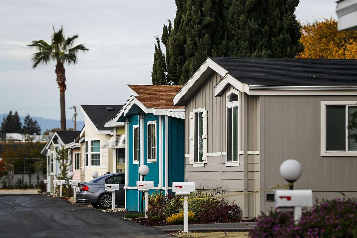 The mobile home park where Google employee Alexander Brown lives, in Mountain View, California, on Wednesday, Dec. 7, 2016.