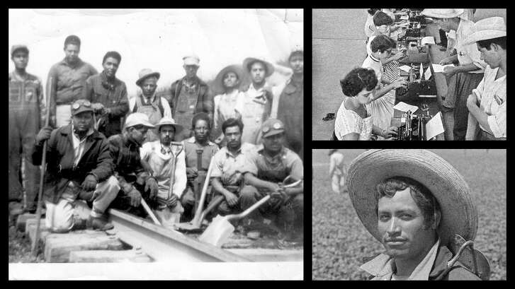 """Collage of photos from the exhibition """"Bittersweet Harvest: The Bracero Program 1942-1964,"""" openingat the Holocaust Museum of Houston."""