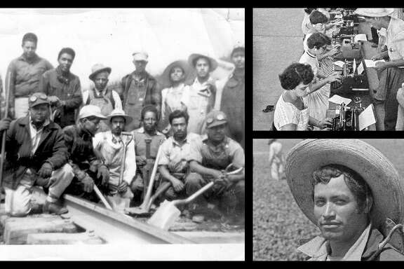 "Collage of photos from the exhibition  ""Bittersweet Harvest: The Bracero Program 1942-1964,"" opening at the Holocaust Museum of Houston."