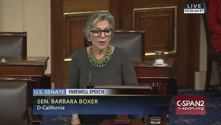 This image provided by C-SPAN2 shows Sen. Barbara Boxer, D-Calif., giving her farewell speech on the Senate floor on Capitol Hill in Washington, Wednesday, Dec. 7, 2016, after 24 years in the Senate. (C-SPAN2 via AP) Photo: Associated Press