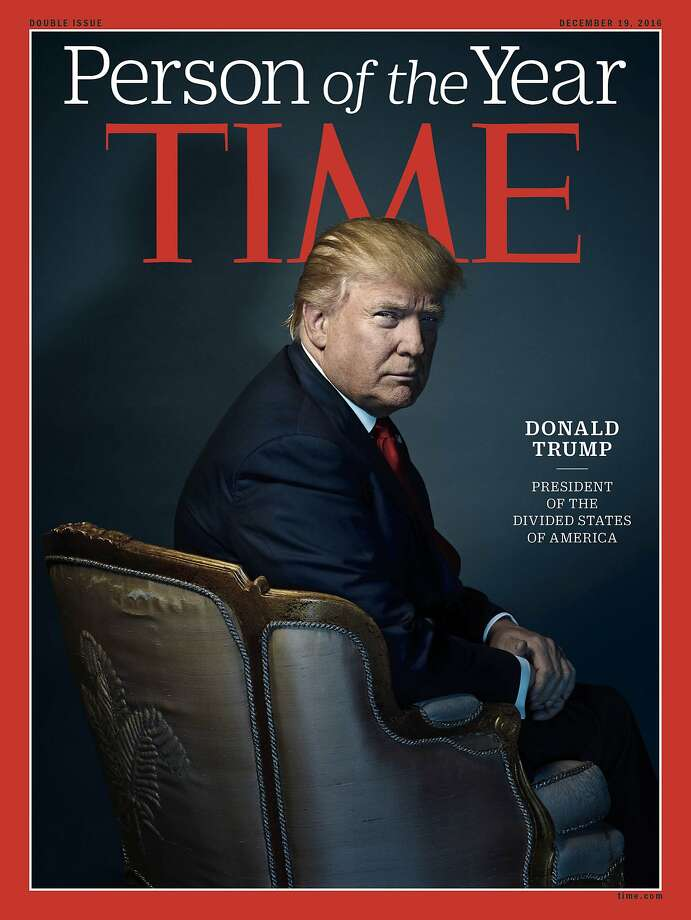 This image provided by Time magazine, shows the cover of the magazine's Person of the Year edition with President-elect Donald Trump in New York. Photo: Nadav Kander, Associated Press