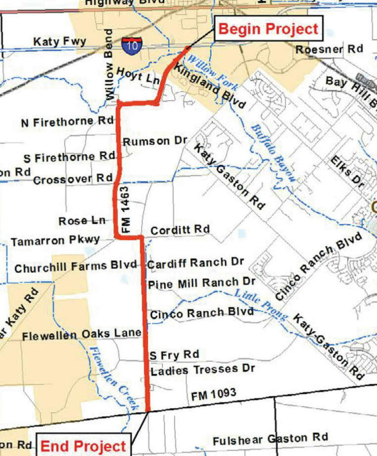 The Texas Department of Transportation proposes to widen FM 1463. Photo: Texas Department Of Transportation