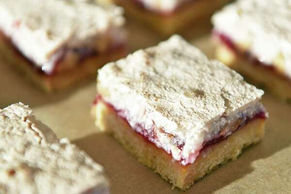 Nanny's red raspberry coconut bars at Honest Weight Food Co-op Thursday Nov. 10, 2016 in Albany, NY. (John Carl D'Annibale / Times Union)