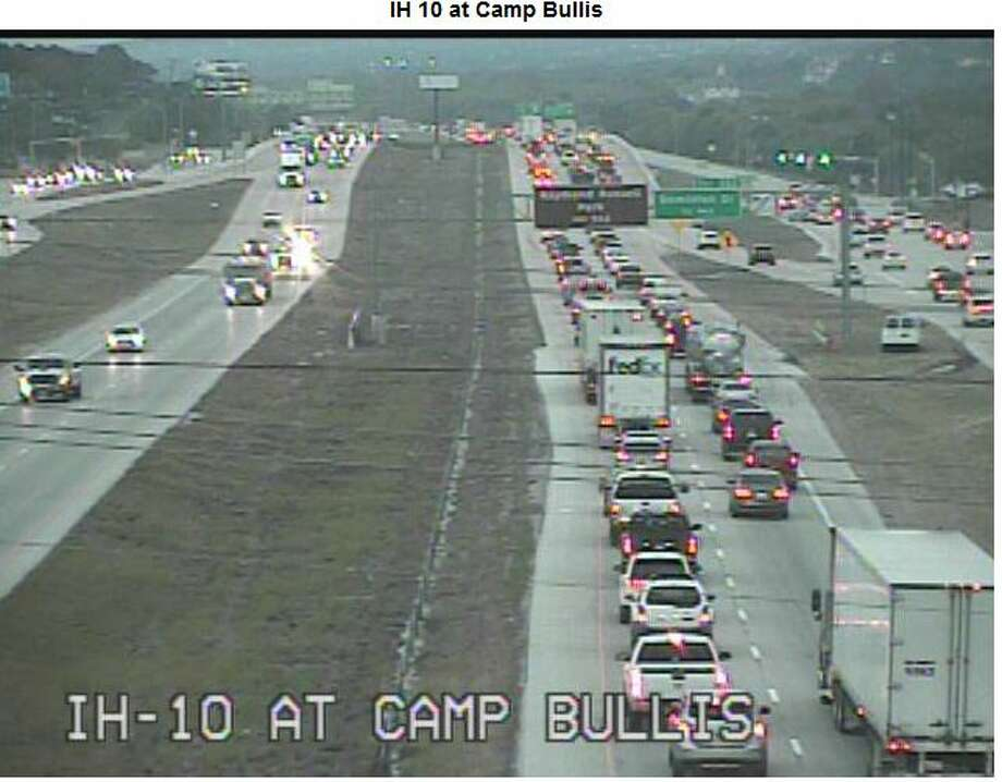 Texas Department of Transportation traffic cameras show abnormal congestion on Interstate 10 after an accident Wednesday afternoon. Photo: TxDOT Camera Images
