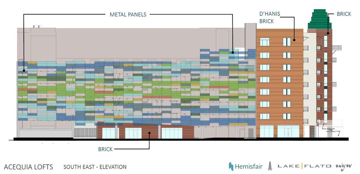 Local architecture firm Lake|Flato plans to decorate one side of the complex with multicolored metal panels that correspond to a diagram of wind speeds in San Antonio throughout the year.