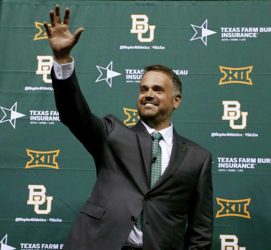Matt Rhule is introduced as Baylor University's new football coach during a public event at the Ferrell Center, Wednesday, Dec. 7, 2016, in Waco, Texas. Rhule replaces Jim Grobe, who led the Bears to a 6-6 record as interim coach this season after Art Briles was fired May 26. (Rod Aydelotte/Waco Tribune Herald via AP) Photo: Rod Aydelotte, Associated Press / Waco Tribune-Herald