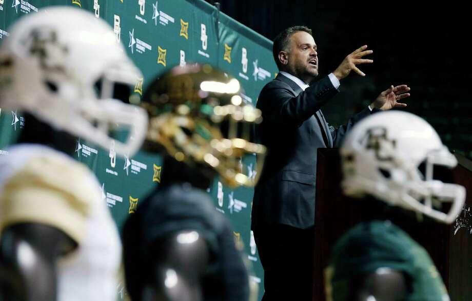 Baylor University's new football coach Matt Rhule speaks during a public event at the Ferrell Center, Wednesday, Dec. 7, 2016, in Waco, Texas. Rhule replaces Jim Grobe, who led the Bears to a 6-6 record as interim coach this season after Art Briles was fired May 26. (Rod Aydelotte/Waco Tribune Herald via AP) Photo: Associated Press / Waco Tribune-Herald