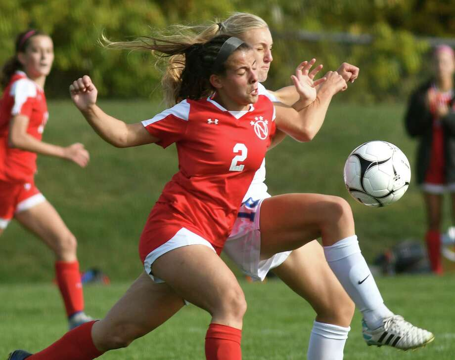 Niskayuna's Isabelle Lynch, left, and Shaker's Janina Rudzinski battle for the ball during their soccer game on Saturday, Oct. 15, 2016, at Shaker High in Latham, N.Y. (Cindy Schultz / Times Union) Photo: Cindy Schultz / Albany Times Union