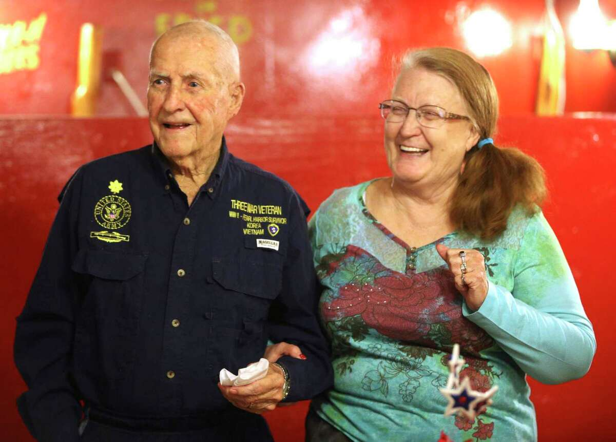 Retired Army Major Virgil Lee Ward and his wife Merry at the 2016 luncheon for the San Antonio chapter of the Pearl Harbor Survivors Association. It was the 75th anniversary of the Japanese surprise attack.