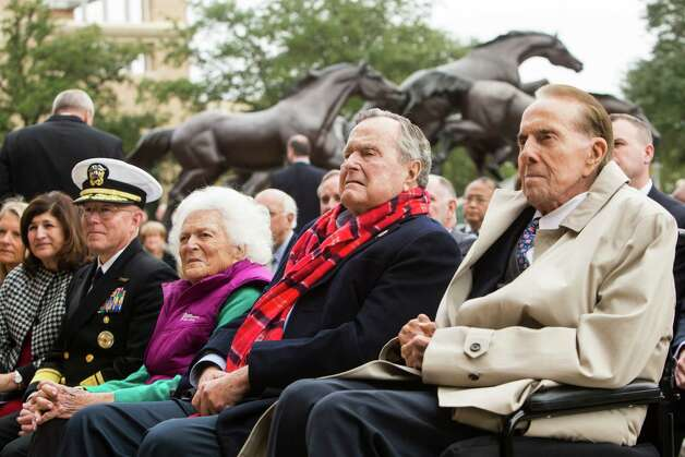 Barbara Bush, George H.W. Bush and Bob Dole mark the anniversary Wednesday in College Station. Photo: Brett Coomer, Staff / © 2016 Houston Chronicle